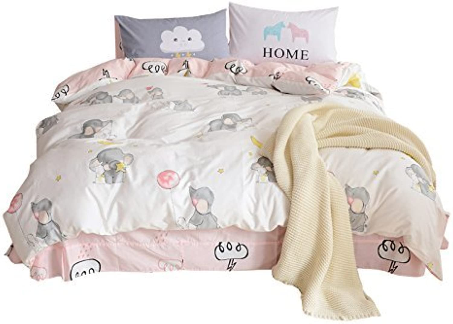 DEERHOME Animals Series Cotton Twin Bedding Collections White 3 Pieces Reversible Promotional Comforter Cover Sets with 4 Corner Ties for Kids Adults (Little Elephant, Twin)