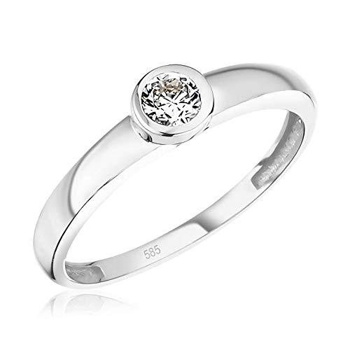 Juwelier Rubin Damen-ring Verlobungsring Gelbgold Weißgold Weissgold 585 Gold 14 Karat Stein Zargenfassung Zirkonia Brillantschliff Solitär (14 Karat (585) Weißgold, 54 (17.2))