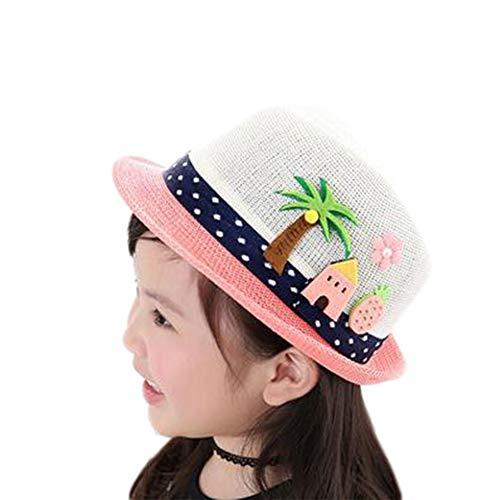 Fablcrew Chapeau de Paille Enfant Fille Garçon Anti-Soleil Respirant Anti UV avec Arbre Fleur pour Les Filles été Plage Loisir Voyage