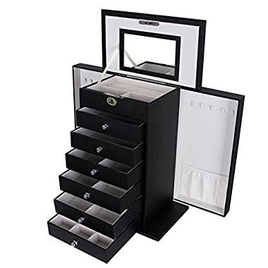 SONGMICS Black Jewelry Box Large Cabinet Faux Leather Storage Case Organizer with Lock and Mirror UJBC06B