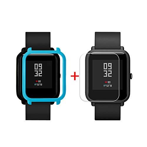 Sannysis Displayschutz Ultradünne PC Hülle Panzerglas Schutzfolie Set Kompatibel für Xiaomi Huami Amazfit Bip Youth Watch Displayschutzfolien, Schutzhülle + Panzerglas (Blau)