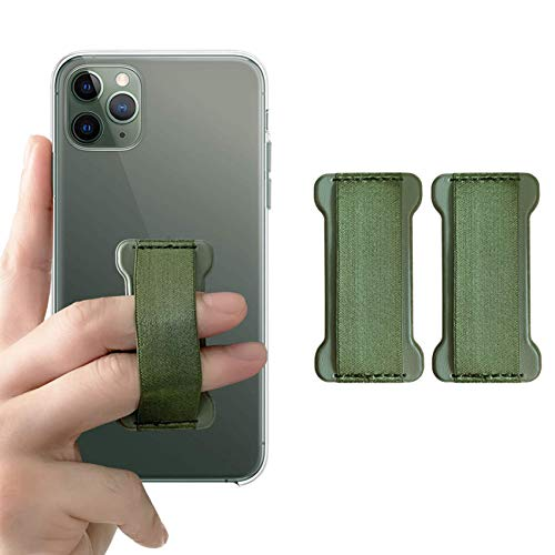 WUOJI Phone Grip Holds Device with just a Finger - Ultra Slim Pocket Friendly Finger Strap for iPhone and Mini Tablet - Grip it Securely for Texting, Photos and Selfies (Dark Green 2-Pack)
