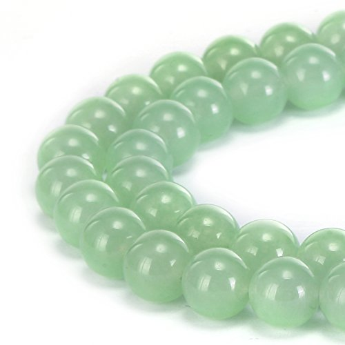 BRCbeads Gorgeous Natural Light Green Jade Gemstone Smooth Round Loose Beads 8mm Approxi 15.5 inch 45pcs 1 Strand per Bag for Jewelry Making