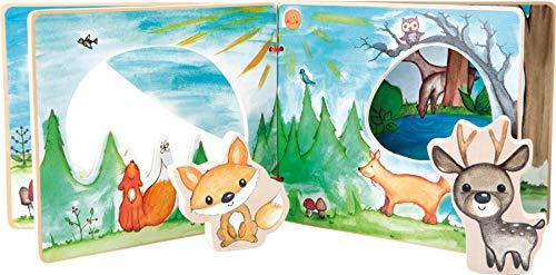 small foot company- Libro Illustrato in Legno Foresta Composto da Quattro Pagine per Un Gioco interattivo Giocattoli, Multicolore, 11234