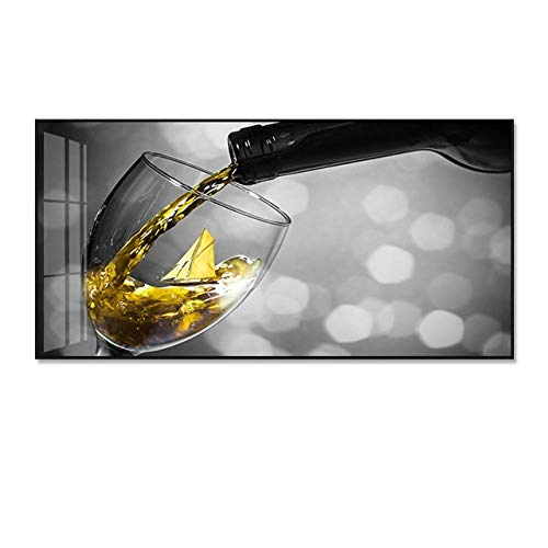 SYLSBAZGYS Romántico Vino Amarillo Carteles en Blanco y Negro Impresiones Pintura en Lienzo Cocina Decoración Moderna para el hogar Imágenes artísticas de Pared para Sala de Estar Sin Marco-C_40x80cm