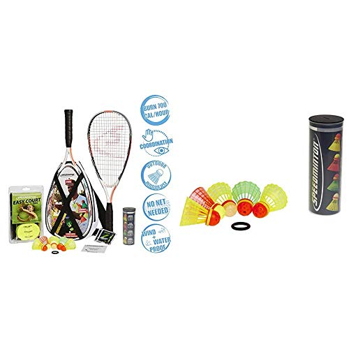 Speedminton® S900 Set – Original Speed Badminton/Crossminton Profi Set mit Carbon Schlägern inkl. 5 Speeder®, Tasche & Mix Speeder - 5er Pack Speed Badminton/Crossminton Bälle gemischt inkl. Windring