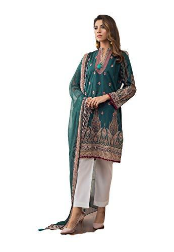 IshDeena Ready to Wear Embroidered Lawn Pakistani Dresses for Women Shalwar, Kameez with Dupatta - Three Piece Set (XL, Green White Emb221)