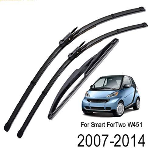 Unknow Escobillas de limpiaparabrisas, para Smart ForTwo W451 2007-2014 Juego de luneta Trasera Delantera 2008 2009 2010 2011 2012 2013