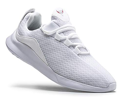 KUTHAENDO Laufschuhe Herren Running Schuhe Sportschuhe Straßenlaufschuhe Sneaker Outdoor Fitness Tennisschuhe Walkingschuhe Trainieren Turnschuhe Joggingschuhe,Weiß,12 UK/ 47