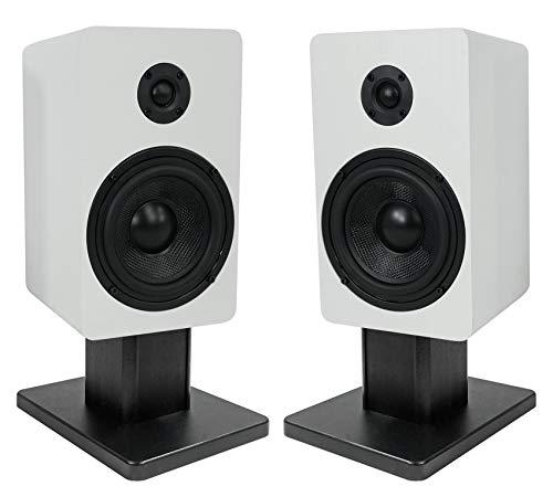 Best Review Of 2 Rockville RockShelf 58W White 5.25 Home Bookshelf Speakers+8 Speaker Stands