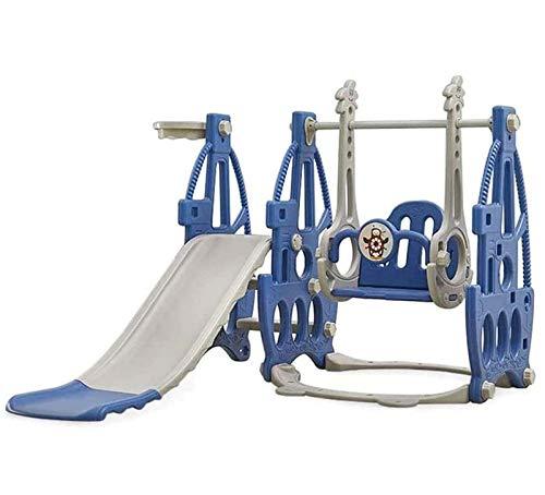 YHX Juego De Columpio Y Escalador para Niños Pequeños 5 En 1 con Aro De Baloncesto, Juego De Tobogán para Niños De 2 A 8 Años De Edad,Azul