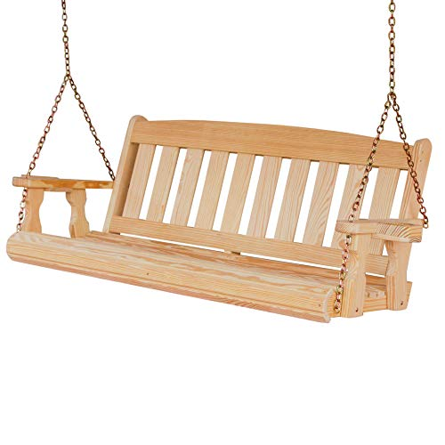 Amish Heavy Duty 800 Lb Mission 5ft. Treated Porch Swing with Cupholders