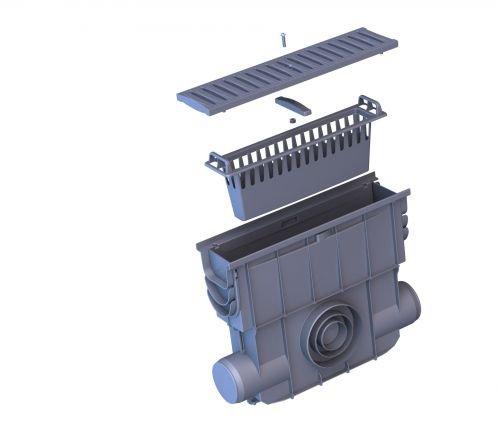 Einlaufkasten für Entwässerungsrinnen mit Schmutzfangkorb, Kunststoffrost, Rostsicherung mit Schraube, montiert, 500 x 413 x 131 mm