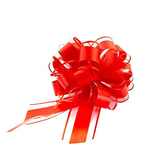 Oblique Unique® Geschenk Schleife mit Geschenkband Matt für Geschenke Tüten Zuckertüten zum Basteln Dekorieren Verzieren - Farbe wählbar (Rot)
