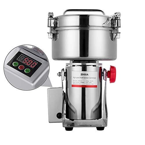 APWONE 2000gram Electric Grain Mills Grinder Powder LCD Digital Stainless Steel Ultra Grinder Machine for Kitchen Herb Spice Pepper Coffee Corn