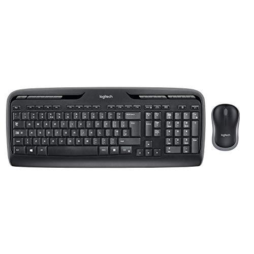 Logitech MK330 Kabellose Tastatur und Maus USB lange Akkulaufzeit kompatibel mit Windows und Chrome OS QWERTZ deutsches Tastaturlayout Schwarz Generaluberholt