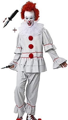 Gojoy Shop-Disfraz y Cuchillo de Broma Retrctil de It Payaso Asesino para Adulto Halloween Carnaval(Contiene Cuchillo, Camiseta,Pantaln y Cuello, Talla Unica)