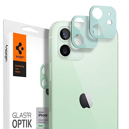 Spigen Glas tR Optik Cámara Lente Protector para iPhone 12 Verde - 2 Unidades