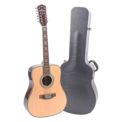 ZUWEI Electric Acoustic Guitar - With Case - 41in Folk Guitarra 12 Strings, Abalone Inlay, Right Hand, Natural
