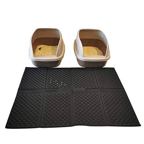 Cat Pad, Cat Litter Pad, Cat Toilet Pad, Foldable Cat Litter Removal Pad, Foldable Anti-Splash Pad, Non-Slip Pad, Easy to Clean, Super Size 70 X 90 cm (Black)