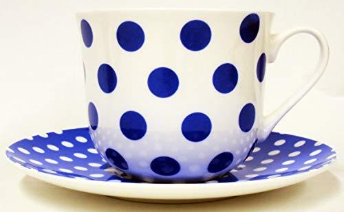 Bleu Pois et pois Petit Déjeuner Tasse et soucoupe en porcelaine anglaise Grande tasse et soucoupe décorée à la main au Royaume-Uni inclus