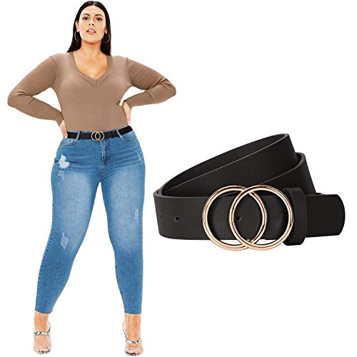 JasGood - Cinturón de piel sintética para mujer, talla grande - - pantalones 127/140 cm