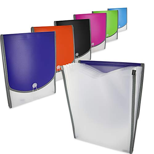 7-Pocket Letter Size Vertical Poly Expanding File High Capacity Plastic Business Portable Accordion File Bag Folder Office Organizer for Receipts and Checks Pack of 6 - by Emraw