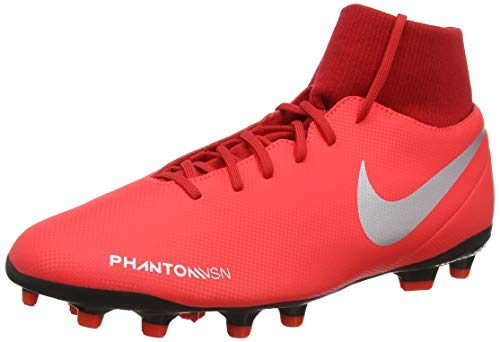 Nike Phantom Vsn Club DF FG/MG, Zapatillas de Fútbol Unisex Adulto, Plateado (Bright Crimson/Metallic Silver 600), 42 EU