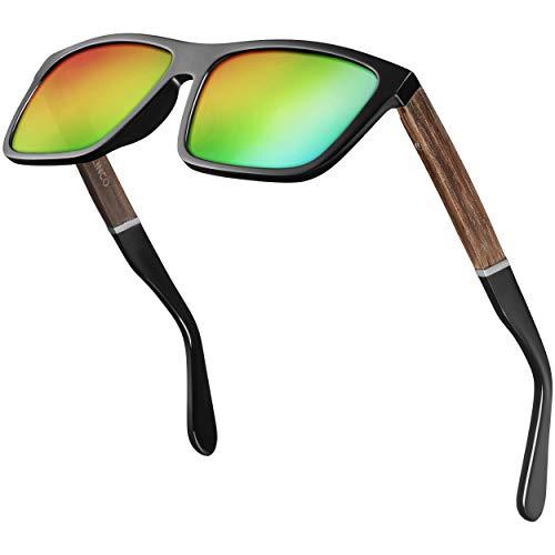Gafas de sol polarizadas Balinco (hechas a mano) con lentes rectangulares y patillas de bambú - aptas para hombres y mujeres - protegen de los rayos UV o de los reflejos - en un práctico set con accesorios