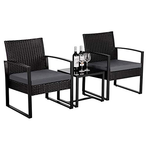 Yaheetech 3 PCS Rattan Wicker furniture Set 2 Seater Wicker patio conservatory Dining Set Indoor Outdoor Modern Bistro Set