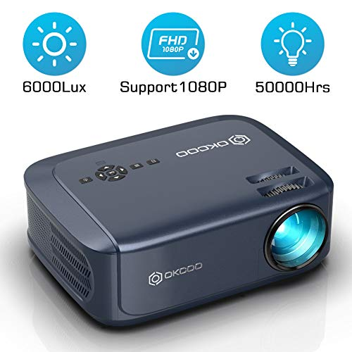 Cheapest Price! OKCOO Video Projector, Full HD 1080P 6000 lux 200″ Display Home Theater Business Office Overhead Projector for Presentation Compatible with PC, Laptop, TV Stick, PS4, HDMI, VGA, TF, USB, AV (White)