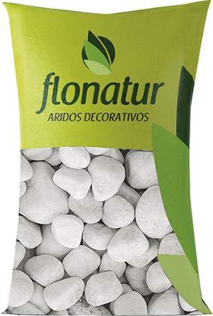 flonatur. Piedra mármol Canto rodado Blanco Saco de 25Kg, Piedra Decorativa para Jardin o Espacios...