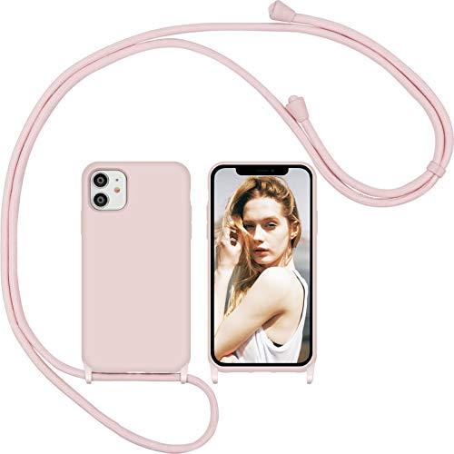 Nupcknn Funda Silicona con Cuerda para iPhone 11 y Protector Pantalla, Carcasa Suave Silicona Case con Correa Colgante Ajustable Collar Correa de Cuello Cadena Cordón(Oro Rosa)