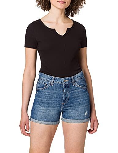 edc by ESPRIT Damen 060CC1C302 Jeans-Shorts, 902/BLUE MEDIUM WASH, 32