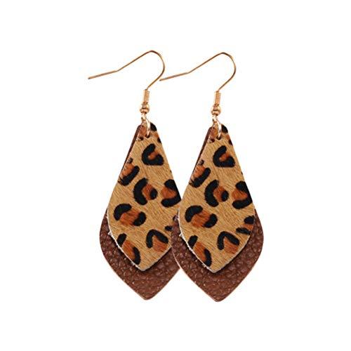 BESTOYARD Pendientes Gotas de Leopardo Pendientes de Cuero Retro Vintage Pendientes Colgantes Mujeres (Marrón)
