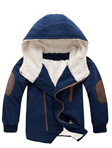 Mallimoda Boy's Thick Cotton-Padded Parka Jacket Hooded Fleece Coat Navy 4-5 Years