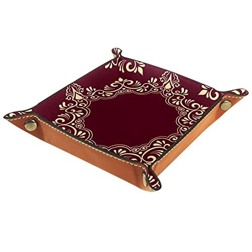 Bandeja de dados plegable para dados con ruedas, bandeja cuadrada para dados, soporte de piel sintética, para juegos de dados, como RPG, DND y otros juegos de mesa, diseño árabe de café 5