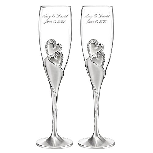 Personalized Wedding Toasting Flutes, Sparkling Love Design, Custom Engraved Champagne Flutes for Bride and Groom, Set of 2, Silver