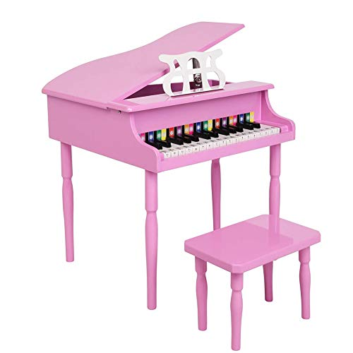 Edge to Kids Piano,30-Key Wood Toy Grand Piano W/Music Stand, Stave Keys Stickers for Birthday Gift Toy,Pink