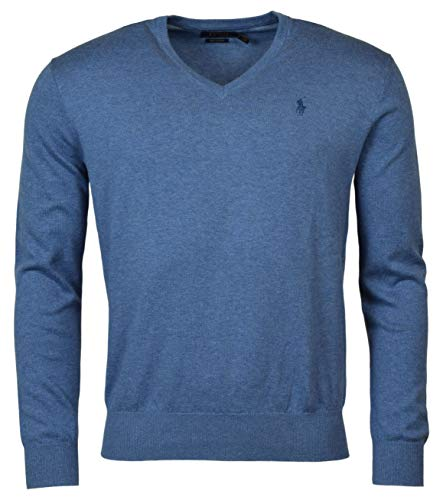 mens polo sweaters Ralph Lauren Mens Pima Cotton V-Neck Sweater (Medium, Blue Heather (Blue Pony))