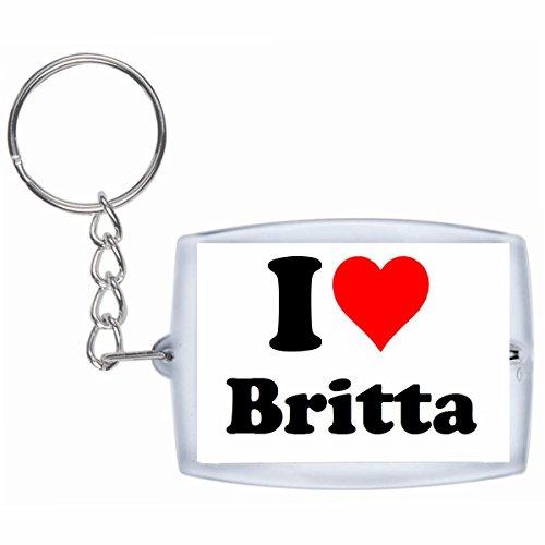 """EXCLUSIVO: Llavero """"I Love Britta"""" en Blanco, una gran idea para un regalo para su pareja, familiares y muchos más! - socios remolques, encantos encantos mochila, bolso, encantos del amor, te, amigos, amantes del amor, accesorio, Amo, Made in Germany."""