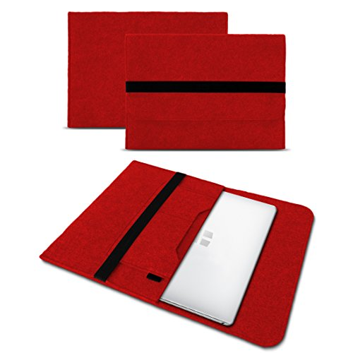 UC-Express Sleeve Hülle kompatibel für Odys Trendbook 14 Pro Tasche Filz Notebook Cover 14' Laptop Schutz Hülle, Farbe:Rot