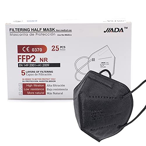 ASTORMEDIC Mascarillas FFP2 Jiada - Homologadas CE - para Adultos [25 unidades] Mascarilla de Protección con 5 capas. Alta eficiencia filtración bacteriana. Colores Blanco/Negro. Envase Individual
