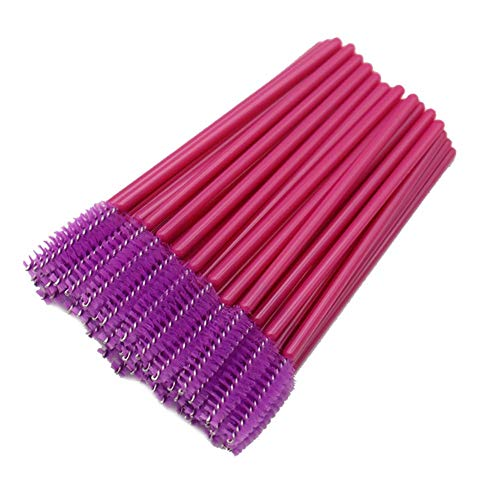 CyFe Lot de 50 baguettes à mascara jetables - Applicateur de cils - Outil de maquillage - Extension et levage des yeux - Tige rouge (violet)