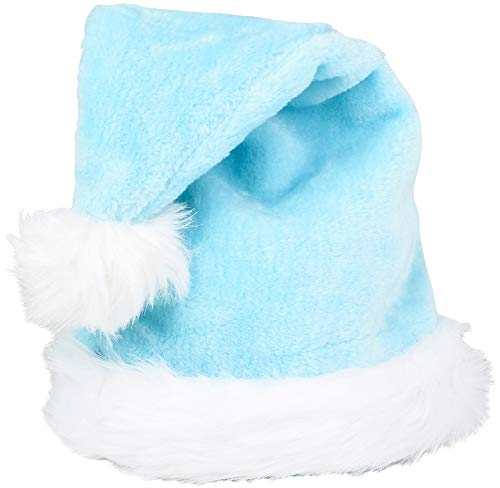 Christmas Light Blue Plush Faux Fur Trim Santa Hat Costume Accessory