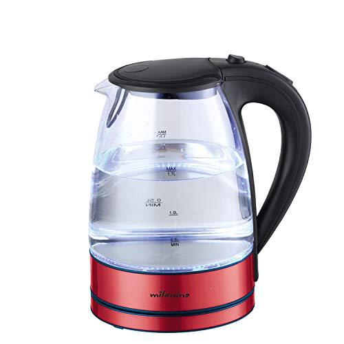 Milanino Glas Wasserkocher, Wasserkocher 1.7 Liter Edelstahl mit LED-Innenbeleuchtung mit Filterauslauf und Trockenlaufschutz BPA Frei - 2200 W (rot)
