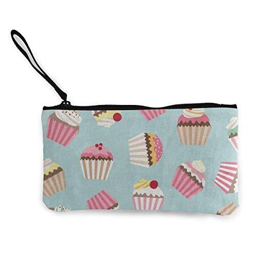 Unisex Wallet, Coin Bags, Canvas Coin Purse Vintage Cupcake Cherry Customs Zipper Pouch Wallet for Cash Bank Car Passport