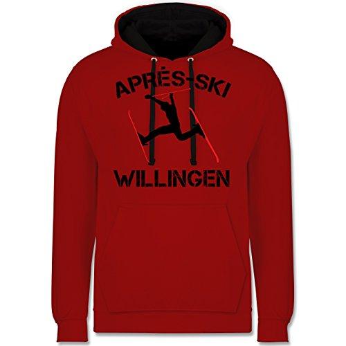 Après Ski - Apres Ski Willingen - XL - Rot/Schwarz - Skispringen - JH003 - Hoodie zweifarbig und Kapuzenpullover für Herren und Damen