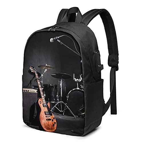Musical Instruments Guitar Black Backpacks for Mens Womens School Travel with USB Charging Port Shoulder Backpacks