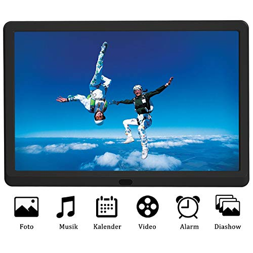 EastPoint Digitaler Bilderrahmen 10 Zoll, unterstützt max. 128G SD Karte, 1920x1080 Hochauflösend Full-IPS-Display, Musik/Video-Player Kalender Wecker automatischer EIN/AUS Timer, mit Fernbedienung